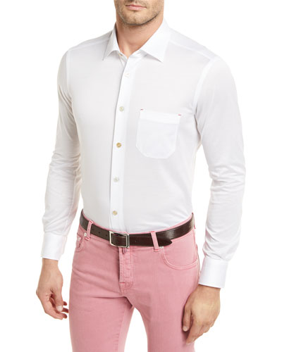 Cotton Knit Long-Sleeve Shirt