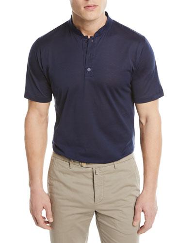 Mandarin-Collar Cotton T-Shirt, Blue