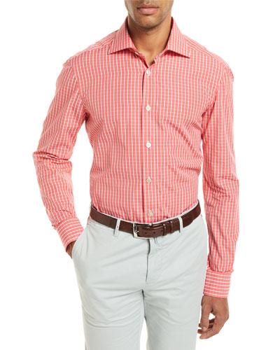 Check Long-Sleeve Shirt, Coral