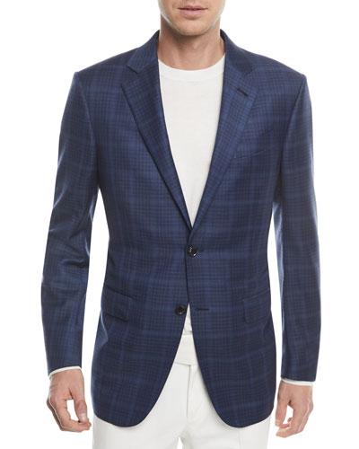 Windowpane Check Wool-Silk Jacket