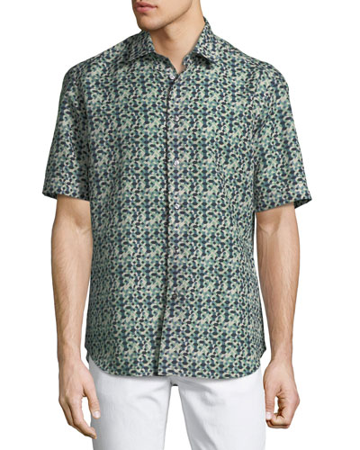 Geometric Linen-Blend Short-Sleeve Sport Shirt