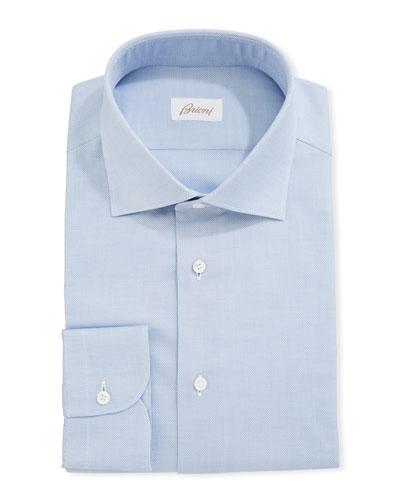 Micro Neat-Weave Cotton Dress Shirt