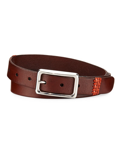 Contrast-Embroidered Leather Belt