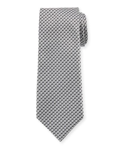 V'd Box Silk Tie, Dark Gray