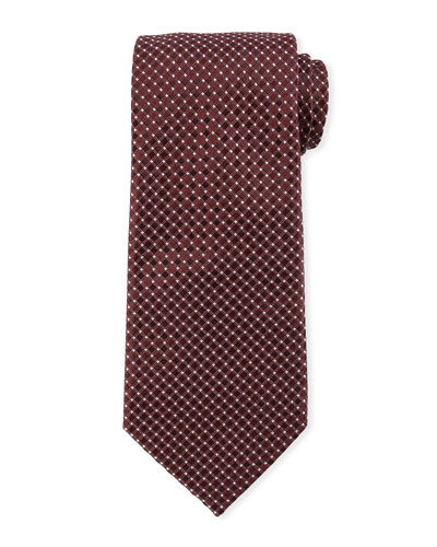 Box-Pattern Silk Tie, Wine