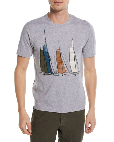 Boat Graphic Cotton T-Shirt, Gray