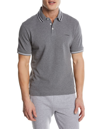 Textured-Knit Polo Shirt