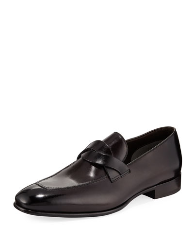 Twist-Front Leather Loafer