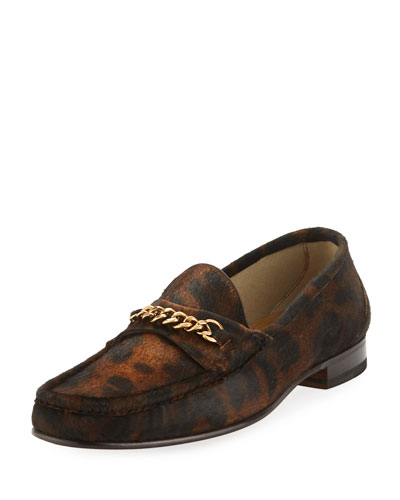 Leopard-Print Pony Hair Chain Loafer