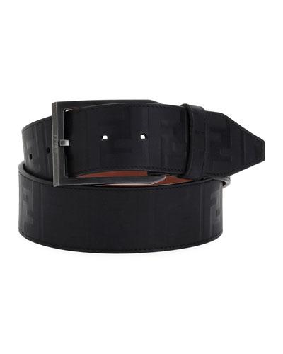 Logo-Embossed Leather Belt