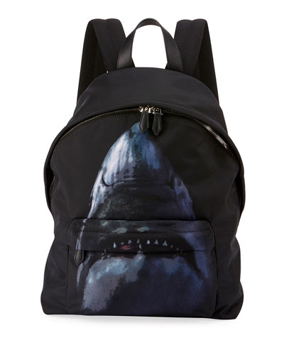 Shark-Print Nylon Backpack