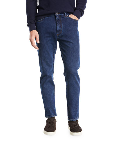 Straight-Leg Denim Jeans