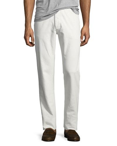 Solid Denim Straight-Leg Jeans, White