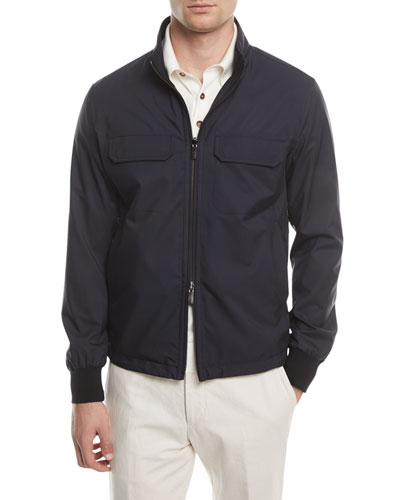 Reversible Wool-Silk Blouson Jacket