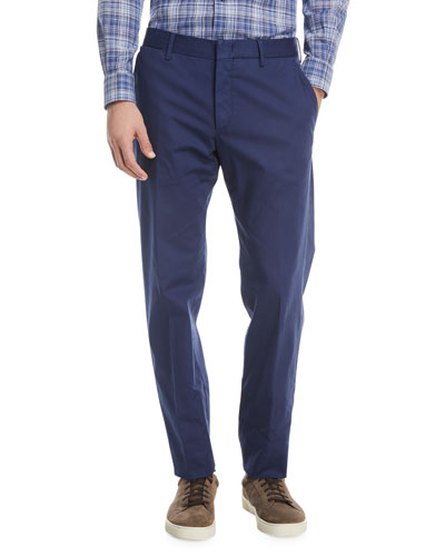 Tricot Twill Flat-Front Pants