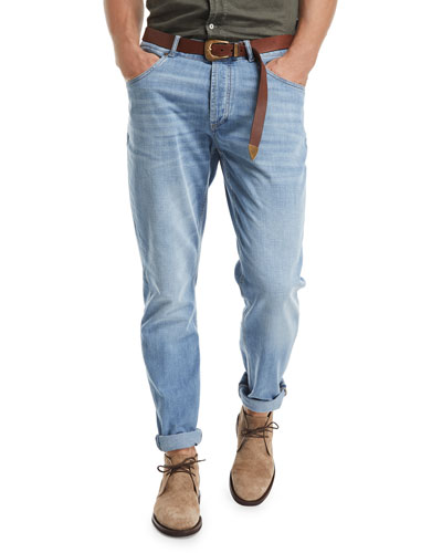 Leisure-Fit Straight-Leg Denim Jeans, Indigo