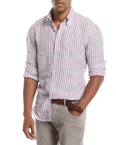 Linen Striped Sport Shirt