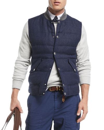Quilted Linen/Wool Tweed Vest