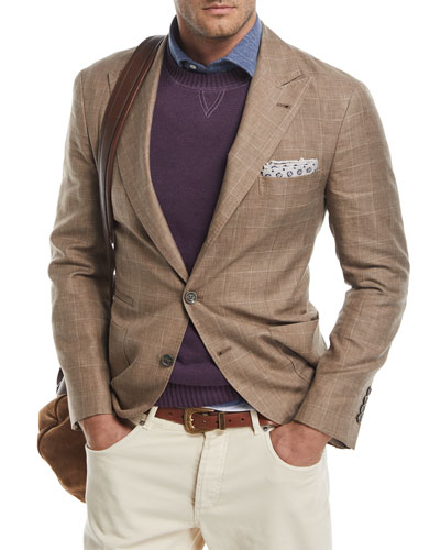 Glen Plaid Wool-Linen Sport Coat, Medium Brown