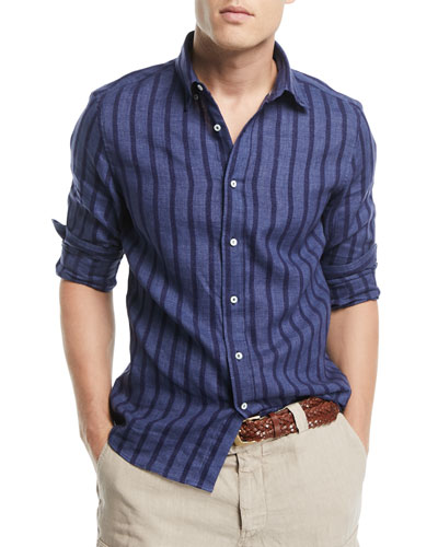 Leisure-Fit Striped Sport Shirt