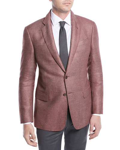 Two-Button Silk-Linen Hopsack Jacket