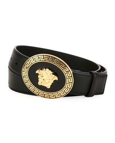 Men's Medusa Greca Key Leather Belt