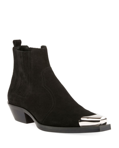Silver-Tip Suede Chelsea Boot