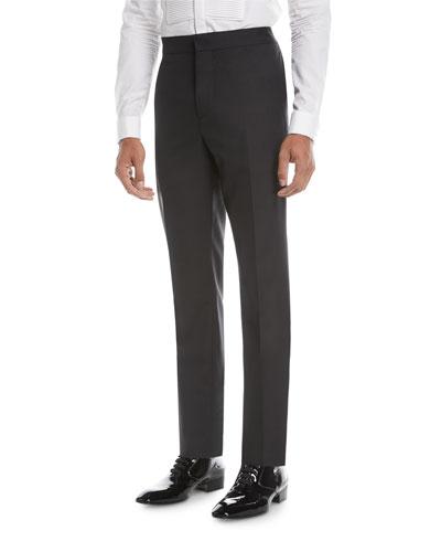 Wool-Blend Straight-Leg Evening Pants
