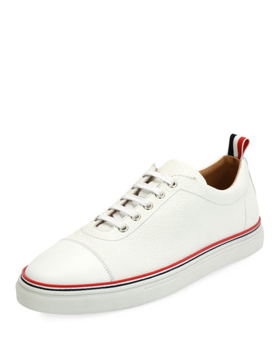 Cap-Toe Striped-Trim Low-Top Leather Sneaker