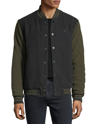 Men's Casual Varsity Jacket, Green