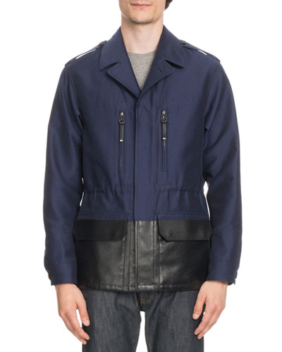 Cotton Field Jacket with Coated Trim