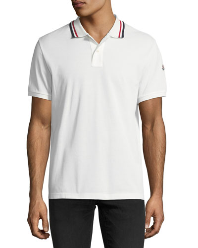 Pique Polo Shirt with Tricolor Collar, Ivory