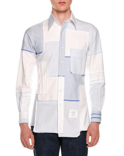 Patchwork Button Oxford Shirt