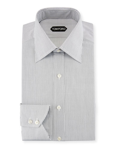 Fine-Stripe Cotton Dress Shirt, Black/White