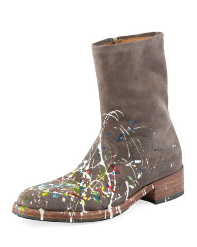 Tall Splatter Paint Suede Boot, Gray Pattern