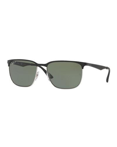 Half-Rim Metal Sunglasses
