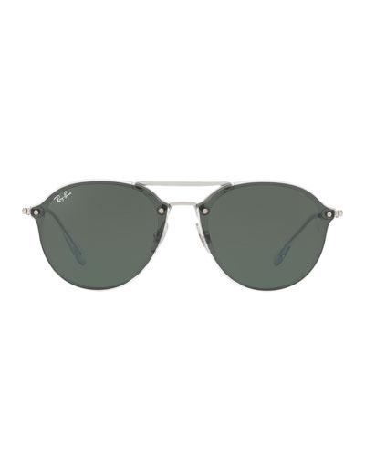 Double Brow-Bar Round Sunglasses