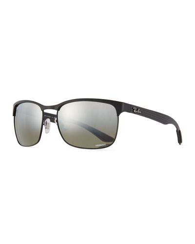 Half-Rim Polarized Sunglasses, Black
