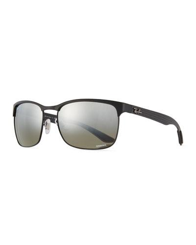 Half-Rim Polarized Sunglasses, Black