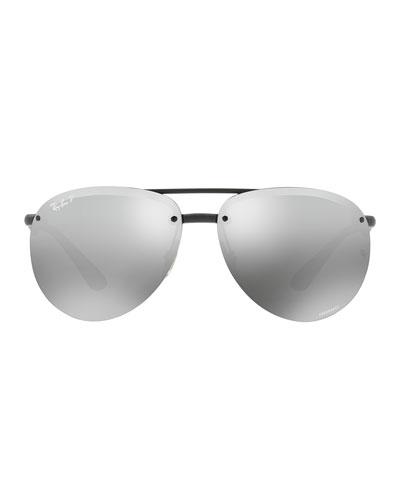 Rimless Mirrored Polarized Sunglasses