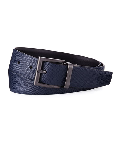 Saffiano Leather Belt, Blue/Black