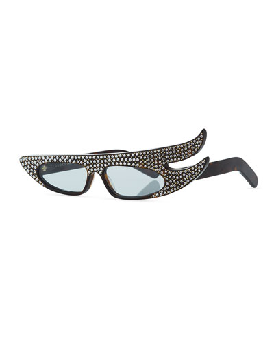 Runway Flash Asymmetrical Sunglasses with Sparkling Crystals