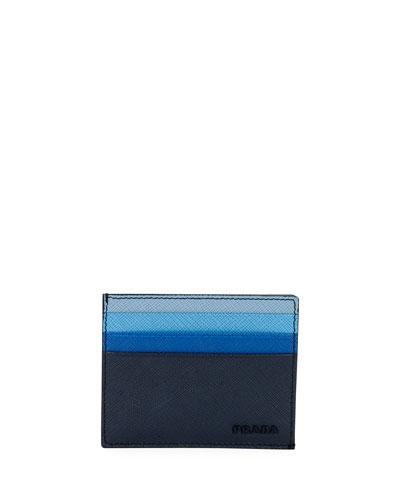 Multicolor Saffiano Leather Card Case