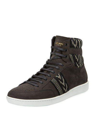 Ikat Suede High-Top Platform Sneaker, Black/White