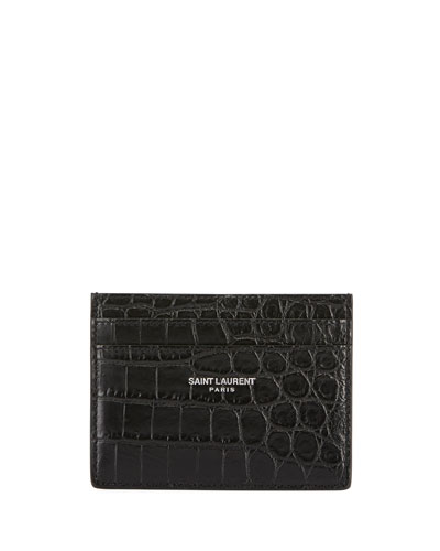 Croc-Embossed Leather Card Case