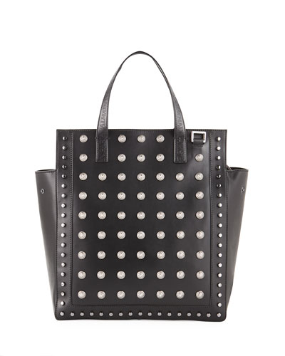 Men's Studded Leather Tote Bag
