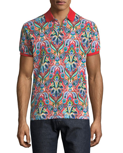 Floral-Paisley Polo Shirt
