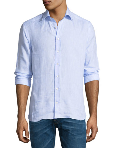 New Warrant Button-Down Linen Shirt, Blue