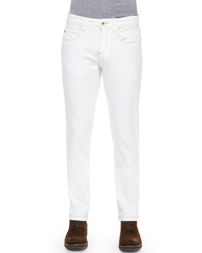 Five-Pocket Slim-Fit Dyed Denim Jeans, White
