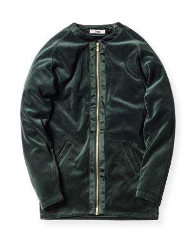 Liddi Velour Zip-Front Jacket, Forest